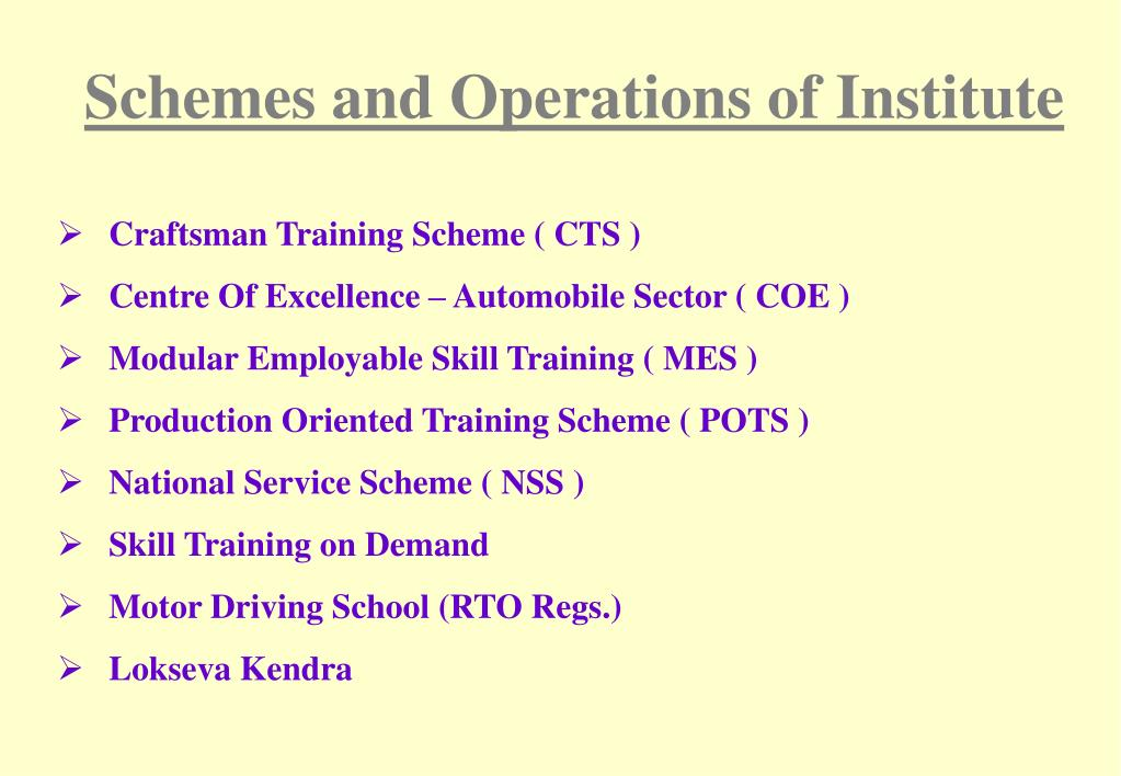 Schemes and Operations of Institute