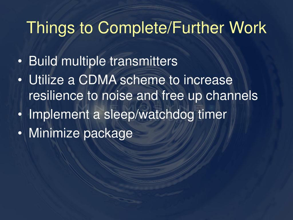 Things to Complete/Further Work