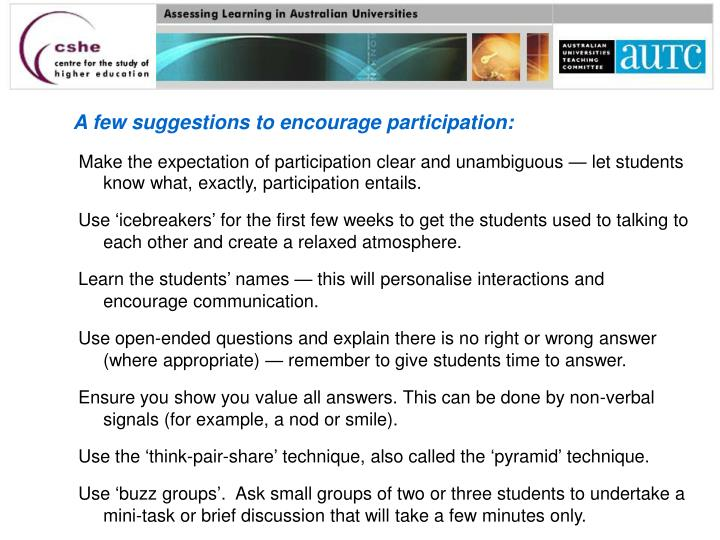 A few suggestions to encourage participation: