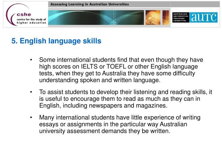 5. English language skills