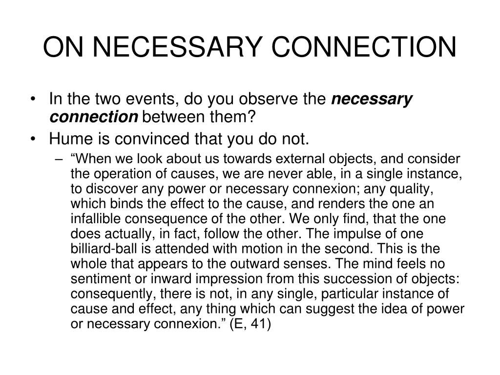 ON NECESSARY CONNECTION