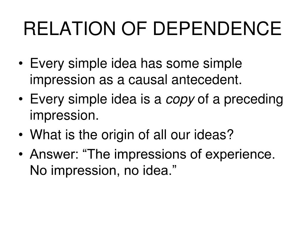 RELATION OF DEPENDENCE