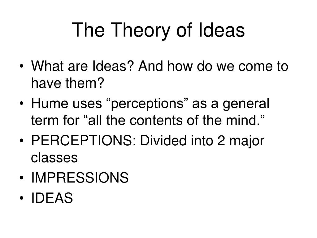 The Theory of Ideas