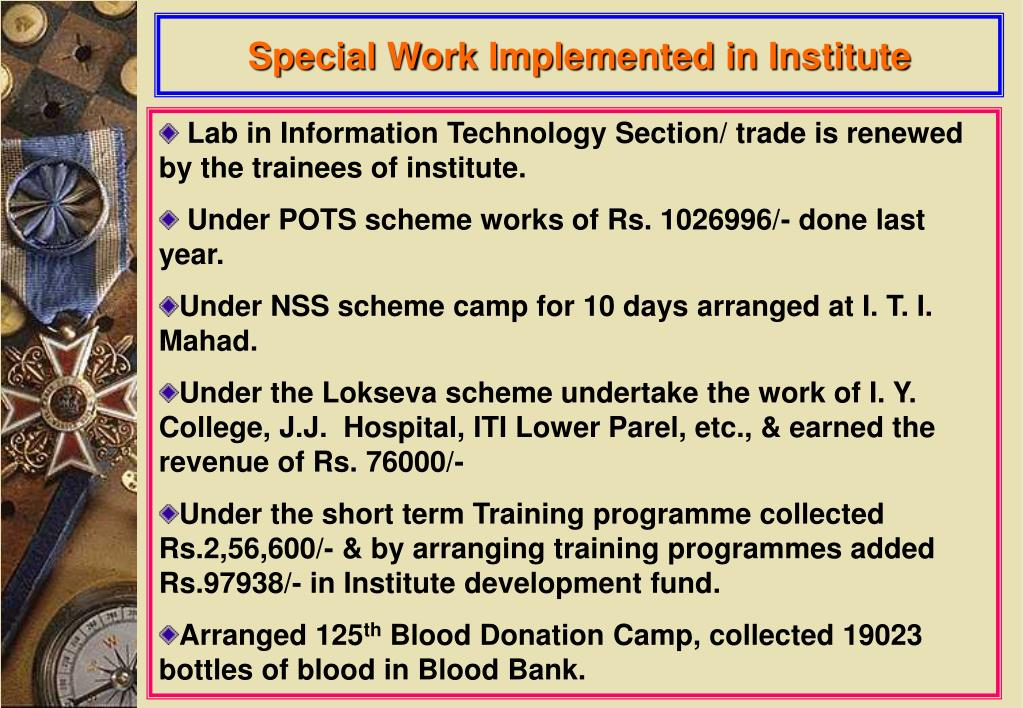 Special Work Implemented in Institute