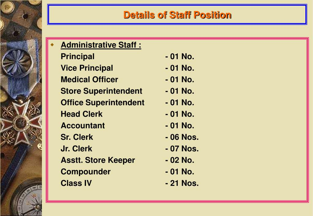 Details of Staff Position