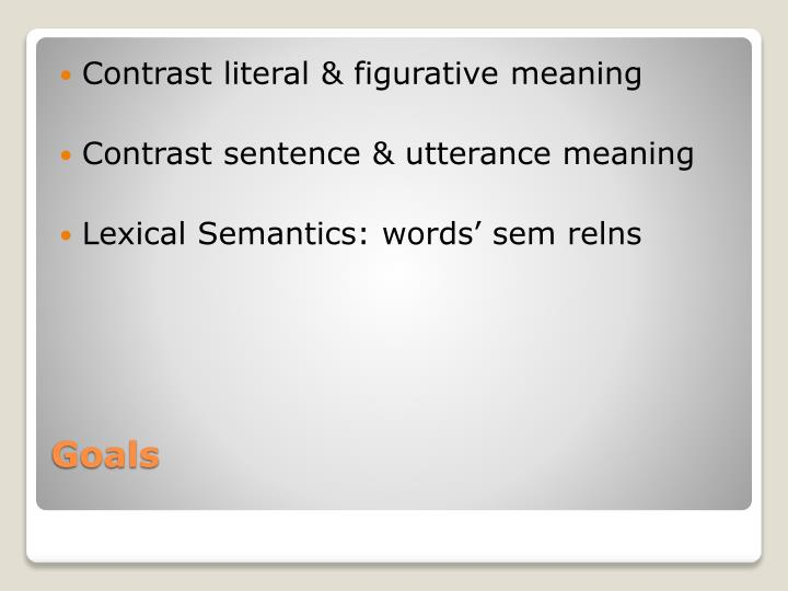 Contrast literal & figurative meaning