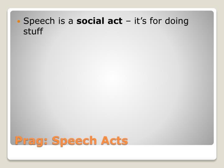 Speech is a