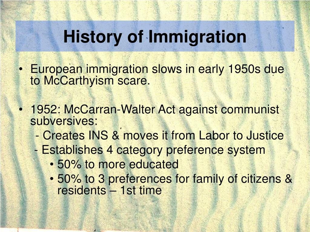 History of Immigration