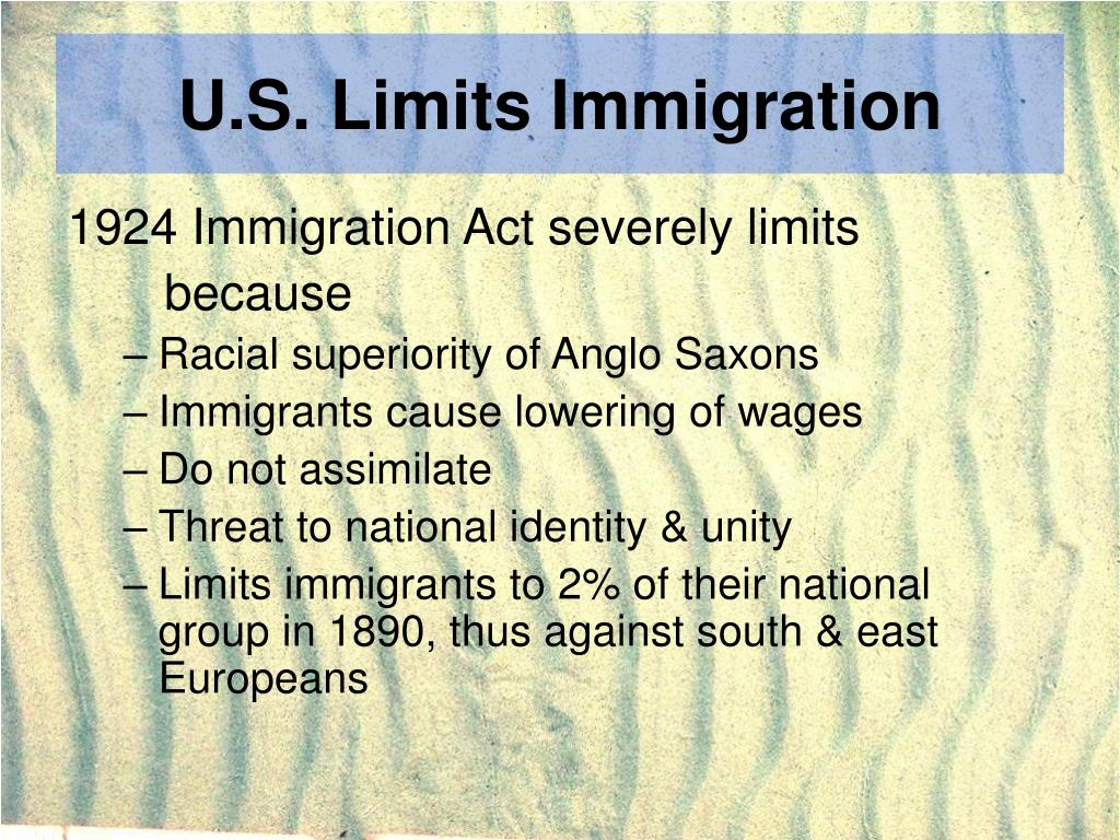 U.S. Limits Immigration