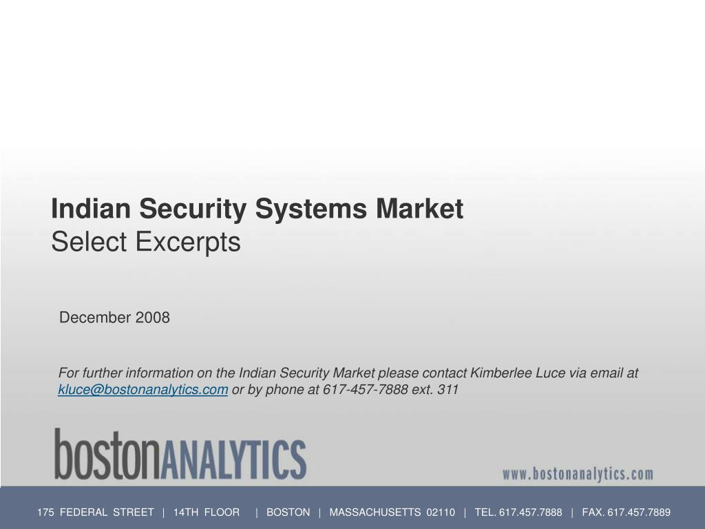 Indian Security Systems Market