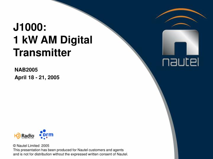 J1000 1 kw am digital transmitter