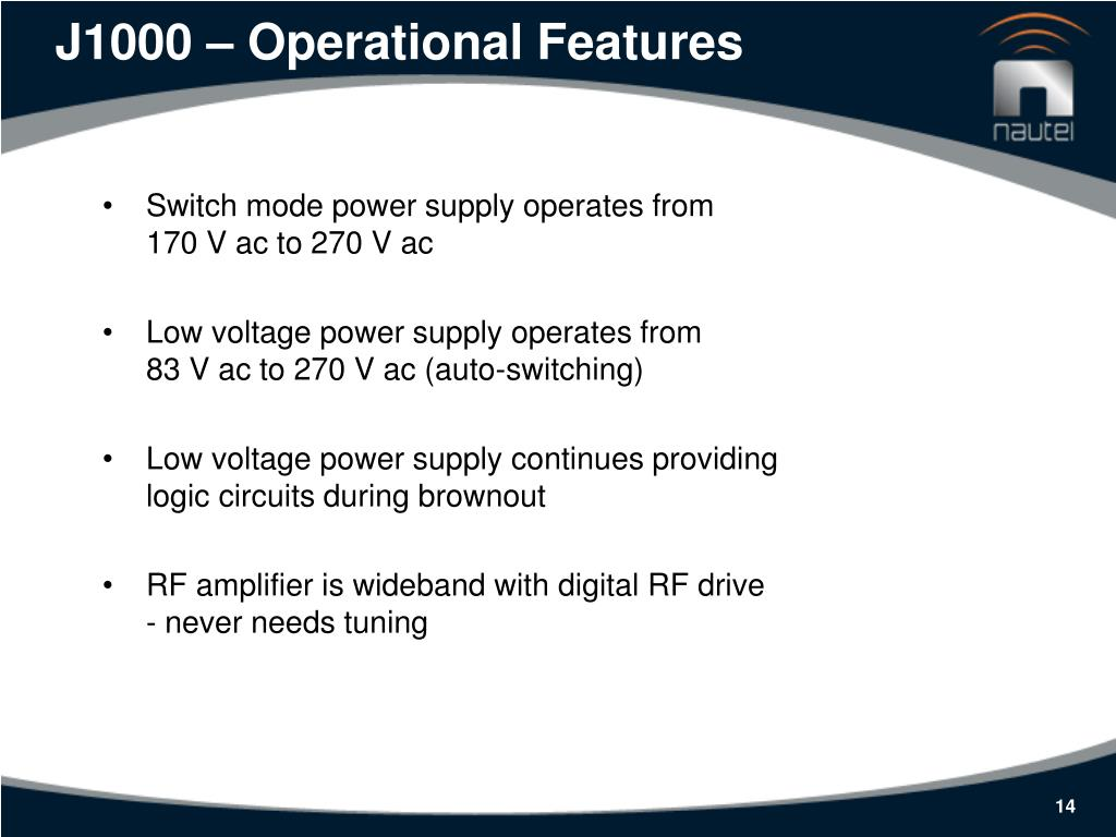 J1000 – Operational Features