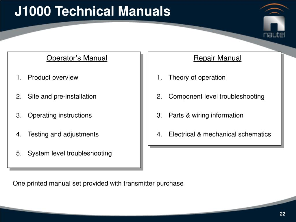 J1000 Technical Manuals