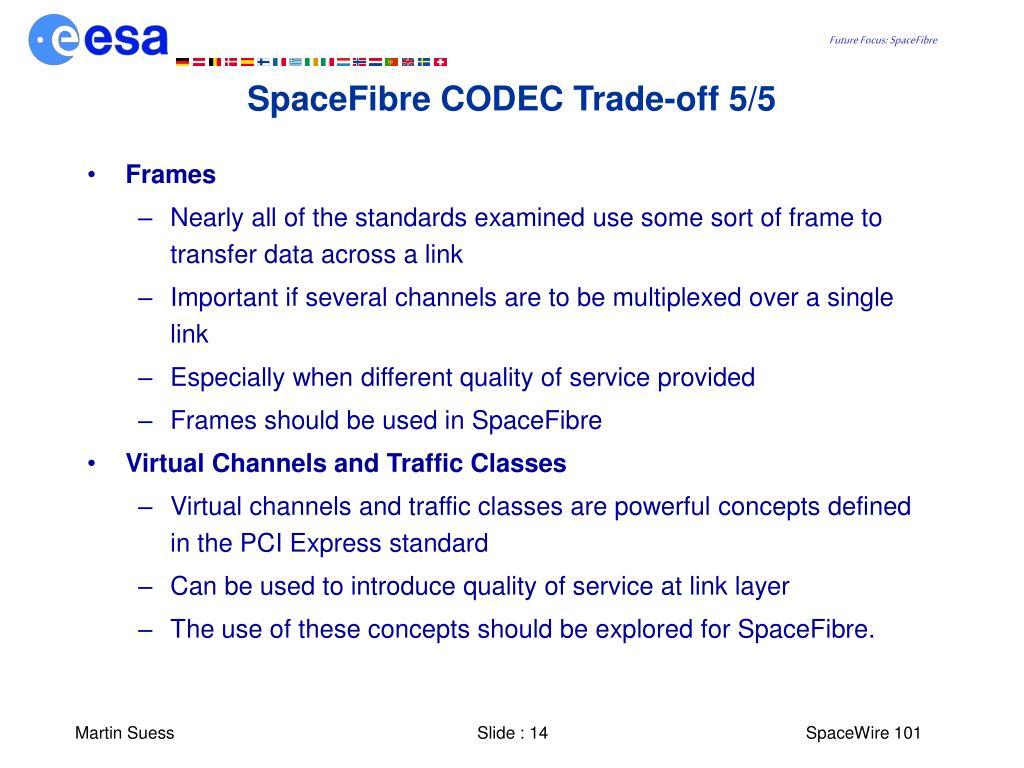 SpaceFibre CODEC Trade-off 5/5