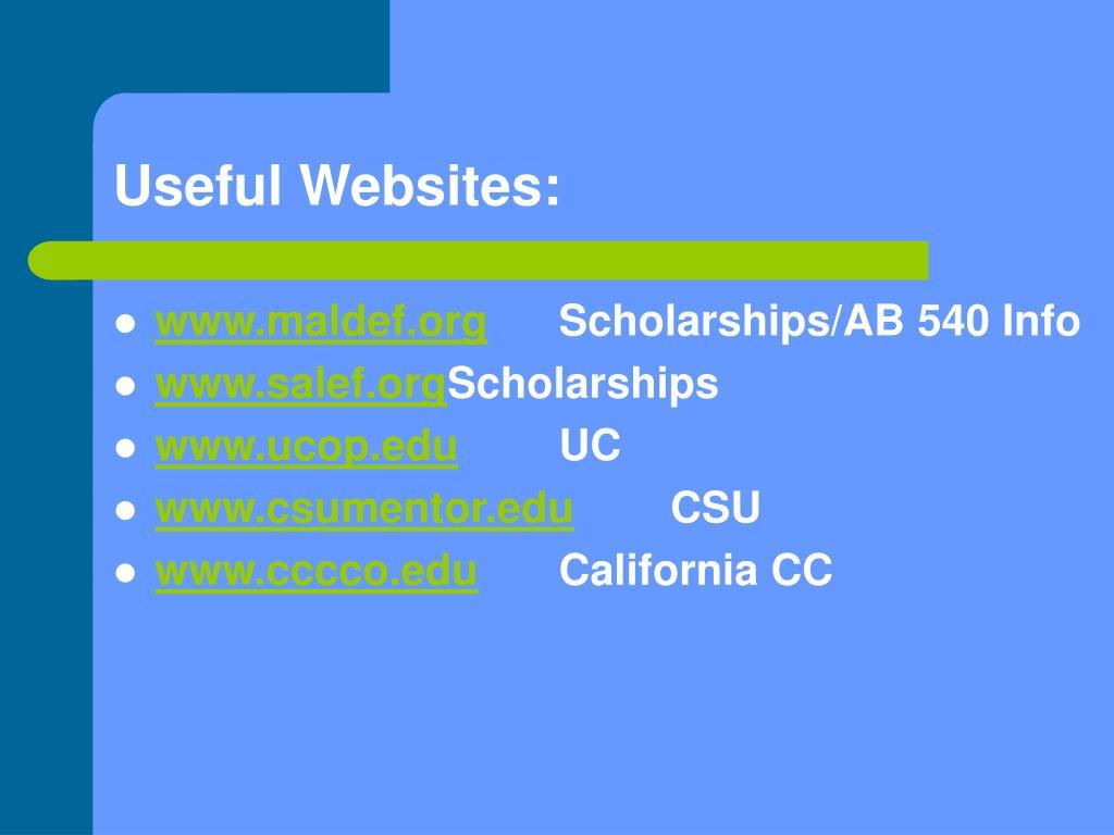 Useful Websites: