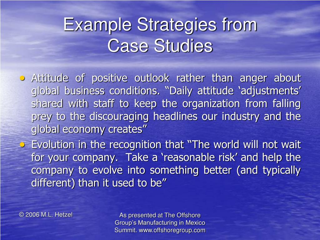 Example Strategies from           Case Studies