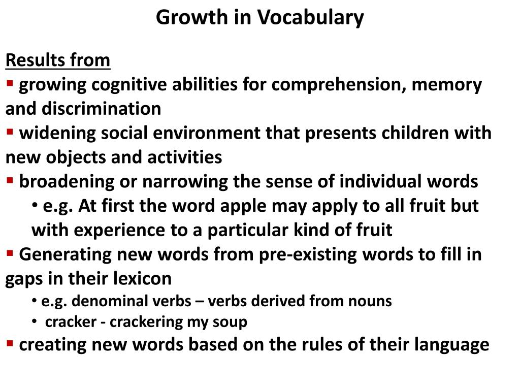 Growth in Vocabulary