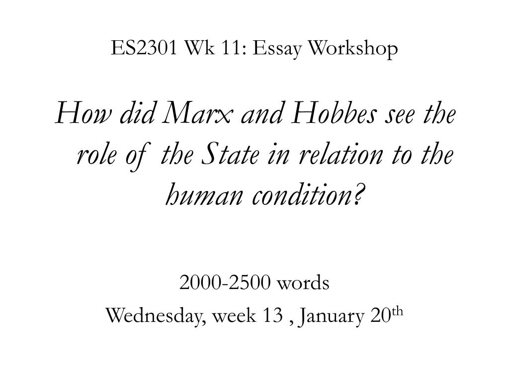 ES2301 Wk 11: Essay Workshop