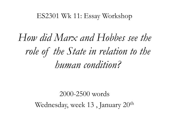 Es2301 wk 11 essay workshop