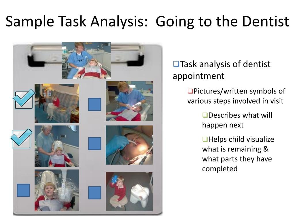 Sample Task Analysis:  Going to the Dentist