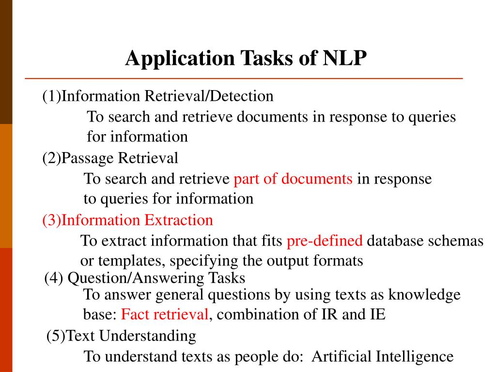 Application Tasks of NLP