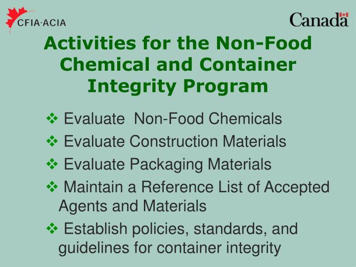 Evaluate  Non-Food Chemicals