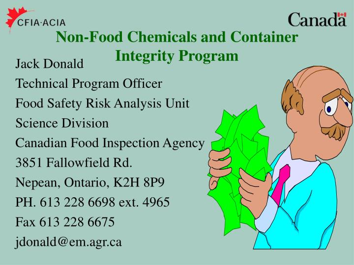Non-Food Chemicals and Container Integrity Program