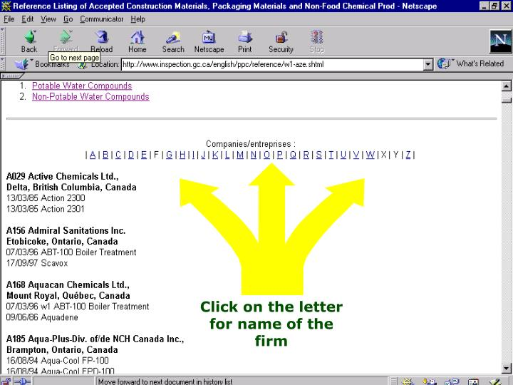 Click on the letter for name of the firm