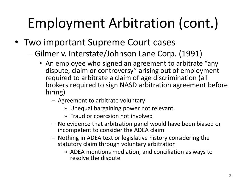 Employment Arbitration (cont.)