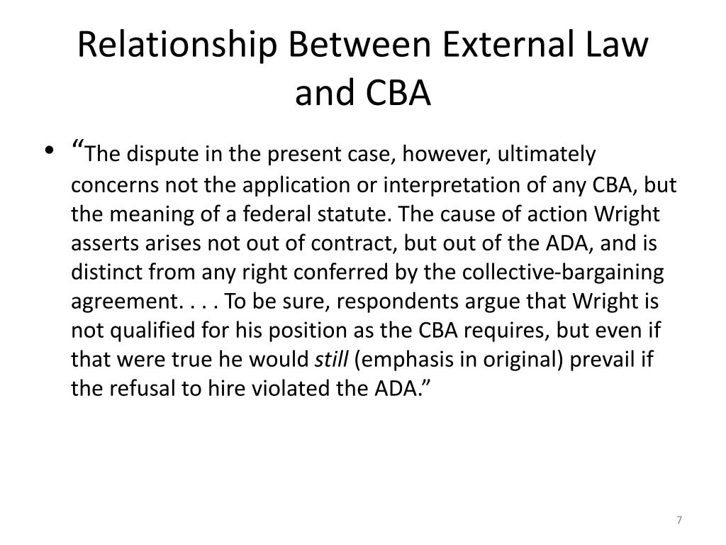 Relationship Between External Law and CBA