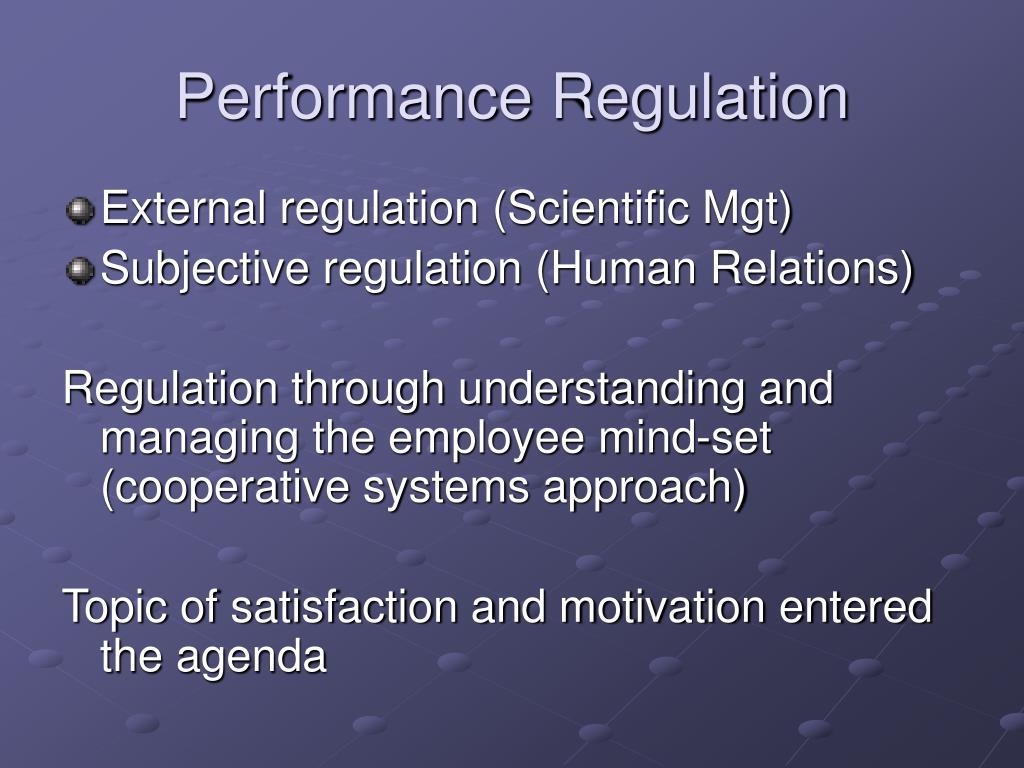Performance Regulation
