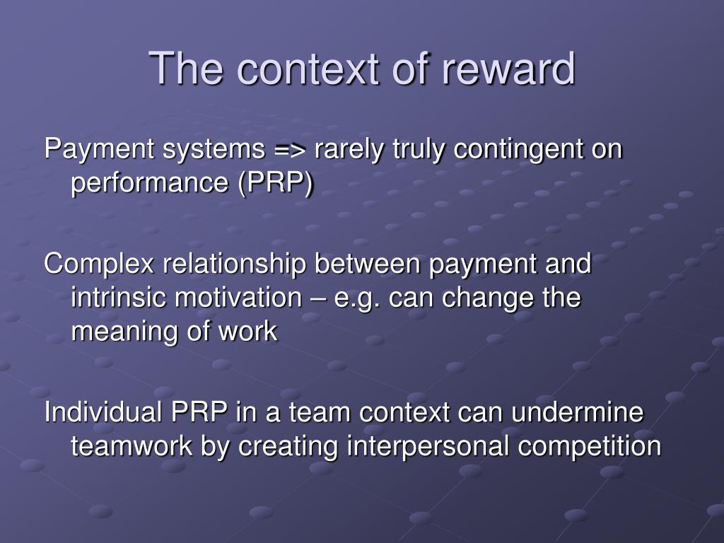 The context of reward
