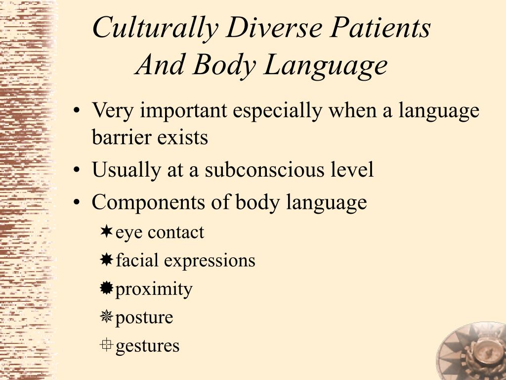 Culturally Diverse Patients And Body Language