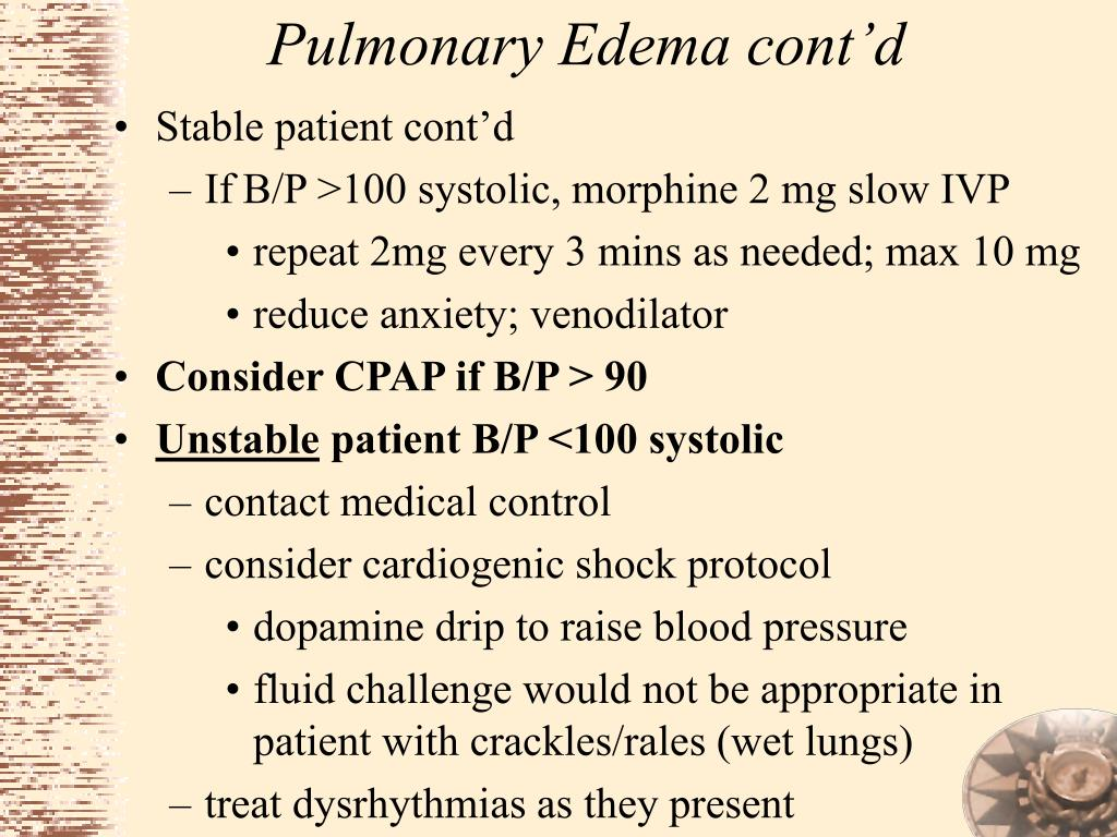 Pulmonary Edema cont'd