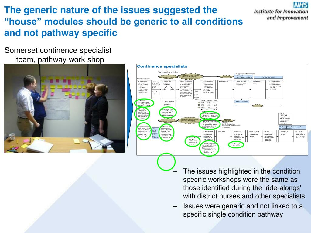 """The generic nature of the issues suggested the """"house"""" modules should be generic to all conditions and not pathway specific"""