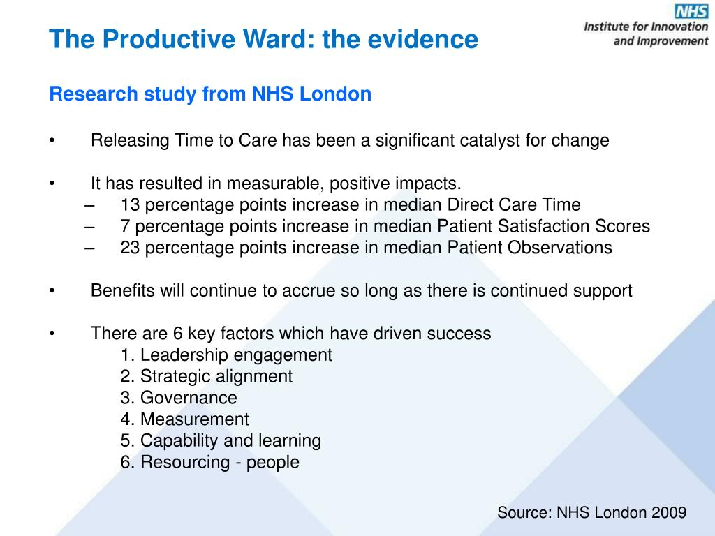 The Productive Ward: the evidence