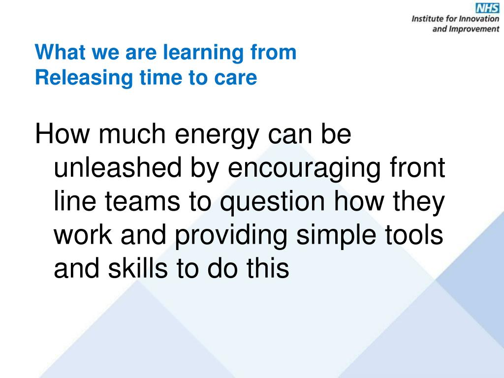 What we are learning from Releasing time to care