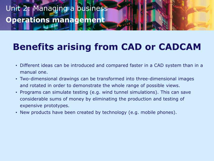 Benefits arising from CAD or CADCAM