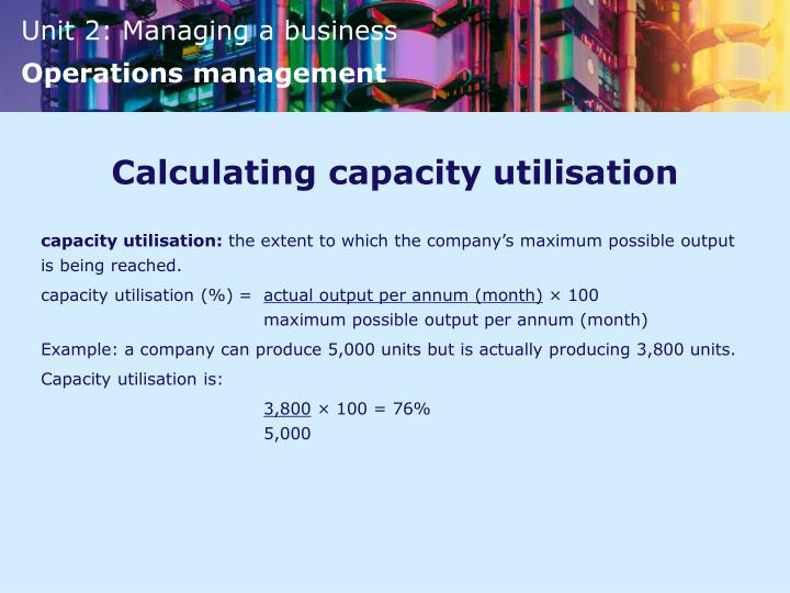 Calculating capacity utilisation