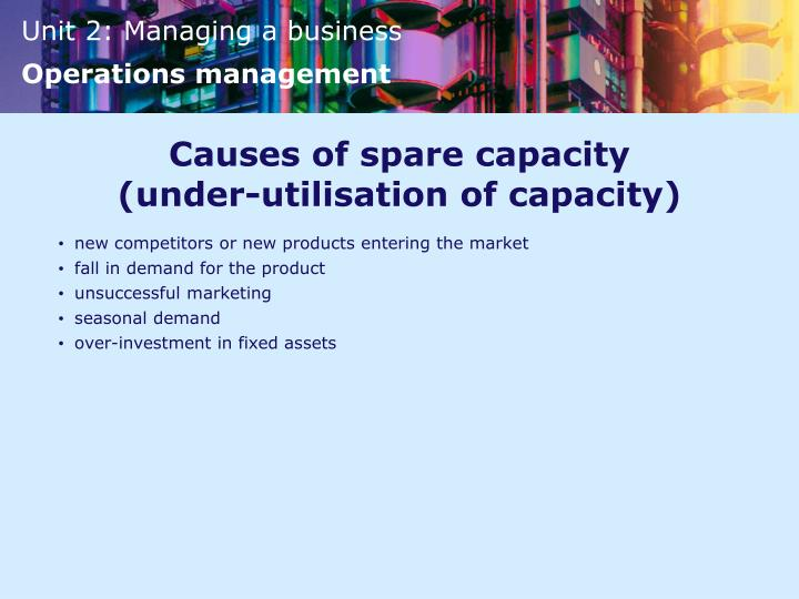Causes of spare capacity
