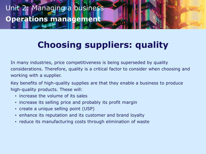Choosing suppliers: quality