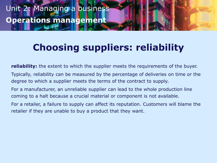 Choosing suppliers: reliability