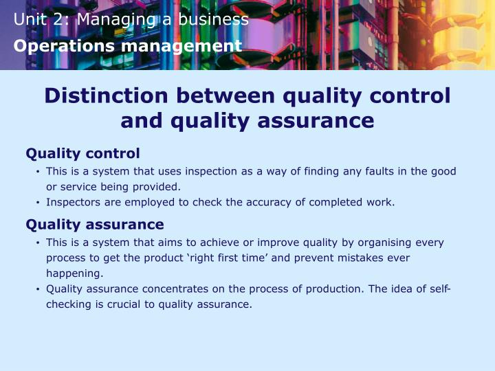 Distinction between quality control and quality assurance
