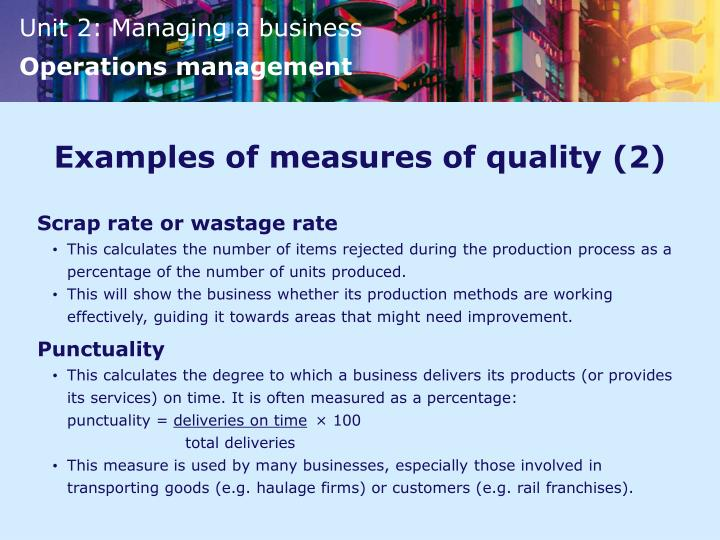 Examples of measures of quality (2)