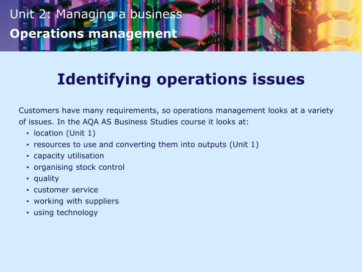 Identifying operations issues
