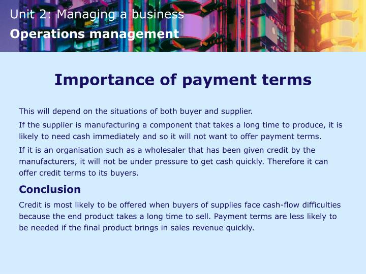 Importance of payment terms