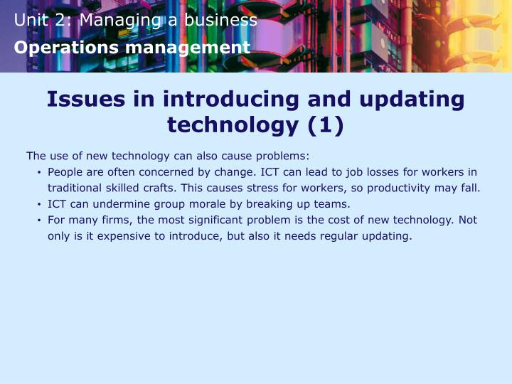 Issues in introducing and updating technology (1)