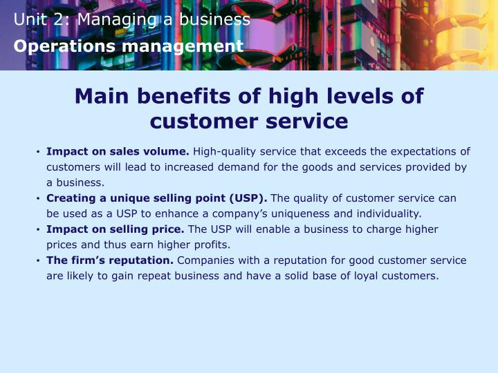 Main benefits of high levels of customer service