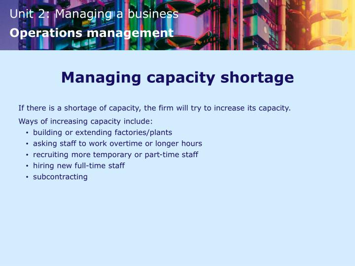 Managing capacity shortage