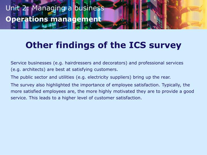 Other findings of the ICS survey